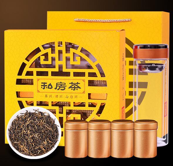 送双层玻璃杯 金骏眉茶叶礼盒装 8罐145g 福建金骏眉红
