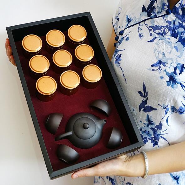 9罐普洱礼盒装 云南勐海普洱熟茶 配茶具一壶四杯