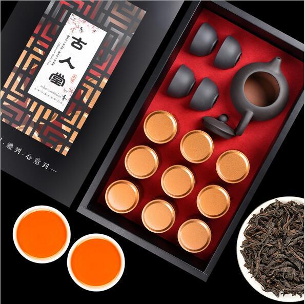 大红袍茶叶9罐礼盒装浓香型岩茶100g送茶具